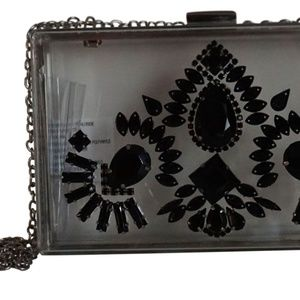 Steve Madden Bsquaree Clear Clutch With Black